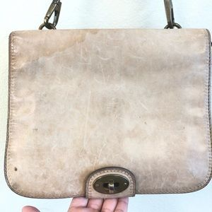 Fossil tan front flap distressed crossbody purse